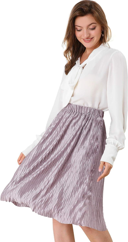 Allegra K Women's Elastic Waist Flare Pleated Lavender Skirt Accordion Pleated Metallic Midi Party Skirts