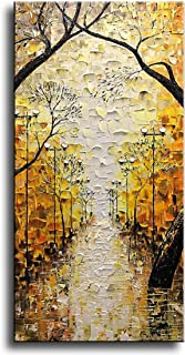 Asdam Art-Tree Vertical Wall Art Abstract Canvas Paintings Landscape Art Yellow Street Artwork for Home Wall 24x48 inch