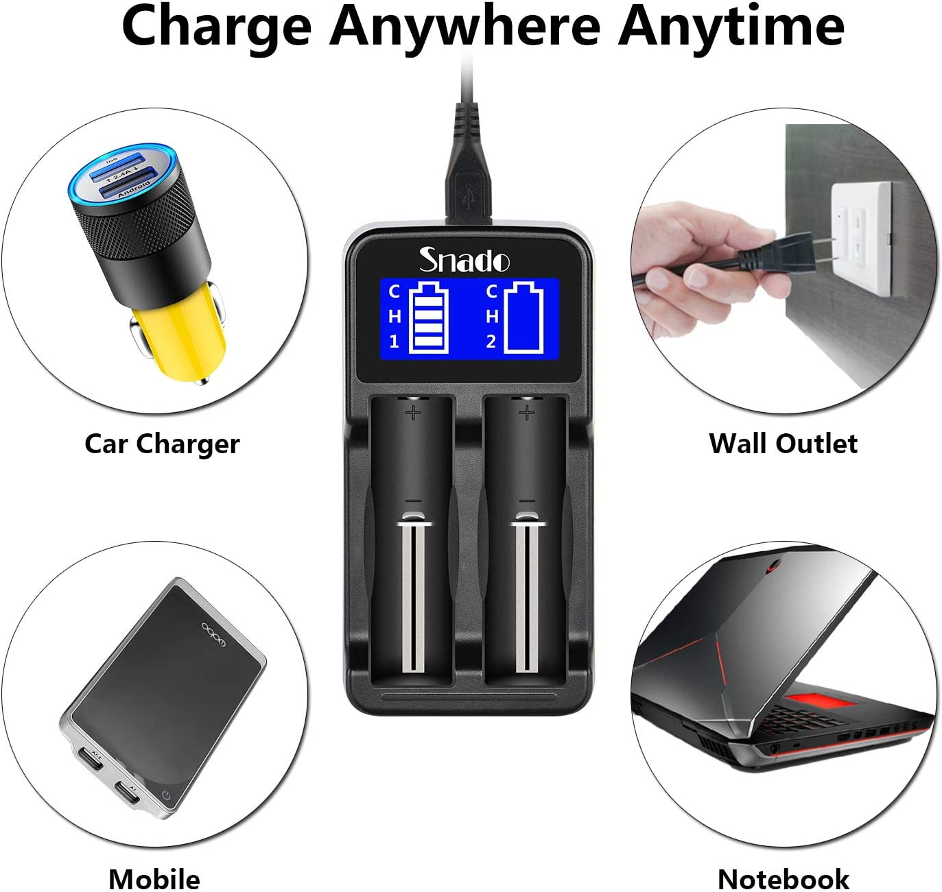 Intelligent Charger, Snado LCD Display Universal Smart Charger for Rechargeable Batteries Li-ion Batteries 18650 18490 18350 17670 17500 16340 14500, Ni-MH/Ni-Cd A AA AAA Batteries (2 Slots) : Electronics