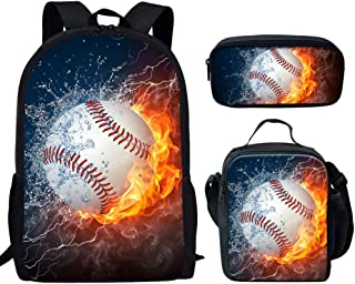 Fire and Water Baseball Ball Print Backpack Children School Bag Insulated Lunch Box with Pen Case Bags Set