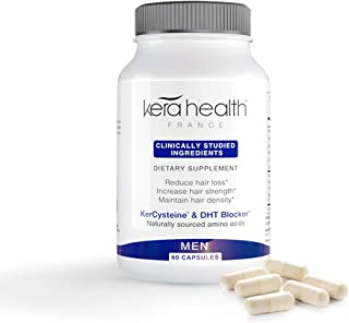 KeraHealth Natural Hair Growth Supplement Vitamins Treatment Pills For Hair Loss Prevention With DHT Blocker For Stronger,Longer,Healthier Hair For Men-Clinically Tested With Biotin, Zinc