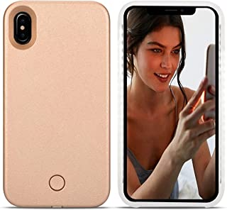 Avkkey iPhone Xs Led Case iPhone Xs Selfie Light iPhone Case Great for a Bright Selfie and Facetime Illuminated Light Up Case Cover for iPhone X 5.8''- Rose Gold
