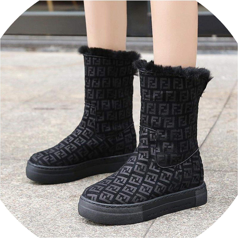 Fashion Leopard Letters Mid-Calf Women Snow Boots Plush Round Toe Winter Female Flats Botas