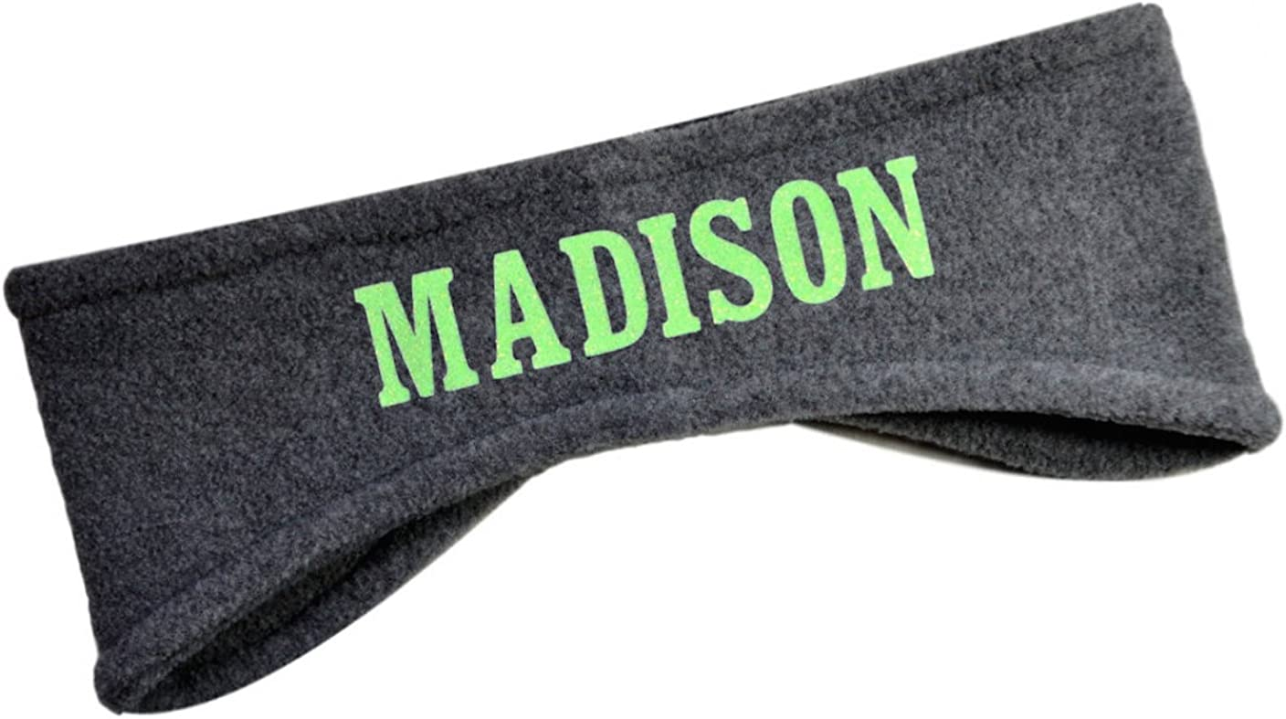 Polar Fleece Ear Warmer Headbands with Custom GLITTER Text for Cold Weather PERSONALIZED