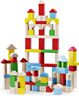 SainSmart Jr. 100Piece Wooden Building Blocks Construction Toys with Bright Color & Various Shapes Stacking Blocks from 18 Months, Early Educational Block Toys for Toddlers