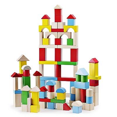 SainSmart Jr. 100 Pieces Wooden Building Blocks...