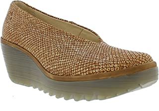 Womens Yaz Palm Rug Office Leather Work Wedge Closed Toe Shoe