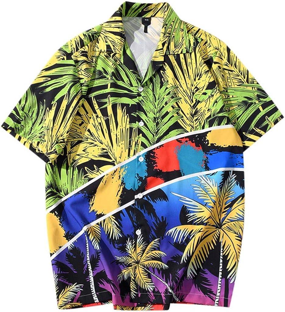 Mlide Tulsa Mall 2020 Summer Super intense SALE Mens Button Hawaiian Short Fashion Sleeve Prin