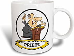 3dRose 103468_2 Funny Worlds Greatest Priest Men Cartoon Ceramic Mug, 15 oz, White