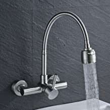 Brushed Nickel Stainless Steel Bathroom Faucet Swivel Spout 2 Functions Outlet Water Mixer Tap 2 Holes Wall Mounted