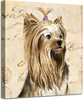 """Dog Wall Art Canvas Print: Cute Animal Picture Yorkshire Terrier Artwork Painting for Bedroom (20"""" x 20"""" x 1 Panel)"""