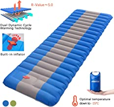 Overmont Sleeping Pad Inflatable Extra Thickness Camping Tent Mattress Pad Waterproof for Sleeping Comfortable Compact Air Mat for Backpacking Travel Hiking Built in Pump