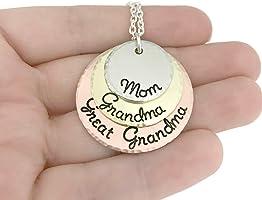 Mom - Grandma - Great Grandma Necklace - Hammered Jewelry - Perfect Gift for Grandma - Hand Stamped Jewelry -...