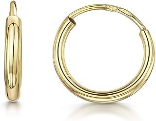 Amberta Cerchi in Oro Giallo 9 Kt - Orecchini a Cerchio Classici per Donna - Creoli alla Moda - Dimensioni Varie