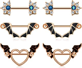 JFORYOU 14G Surgical Steel Nipple Rings Nipplerings Bat Wing Heart Nipple Shield Ring CZ Flower Barbell Nipple Piercing for Women