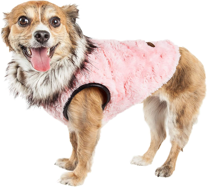 Pet Life Luxe 'Pinkachew' Charming Designer Mink Fur Dog Coat Jacket, XSmall, Pink