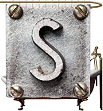MaryMunger Bath Shower Curtain Letter S Damaged Worn Looking Block with Rusty Look Grunge Texture Alphabet Sign Image Fashionable Pattern W72x72L Grey Brown
