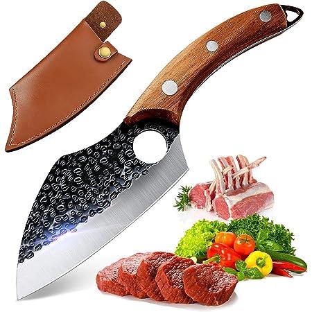 Couteaux de Cuisine,Couteau Japonais,Couteau de Chef Professionnelle, Couteau à Désosser avec Gaine en Cuir Couteau à Couperet Forgé Couteau de Chef, Couteaux à Barbecue pour Cuisine Camping