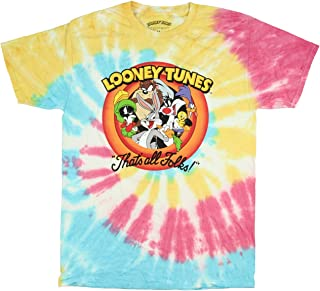 Looney Tunes Adult That's All Folks Character Tie Dye T-Shirt
