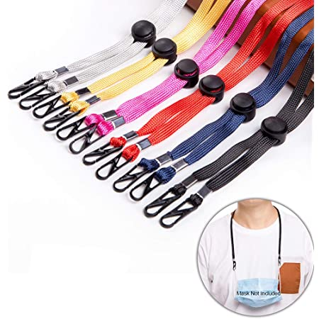 Great for School Outing Sport 5PCS Adjustable Mask Lanyard for Women Men Kids,Convenient Facemask Holder//Hanger Lanyard with Clips