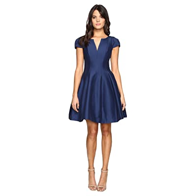 Halston Heritage Short Sleeve Notch Neck Dress with Tulip Skirt (Navy) Women
