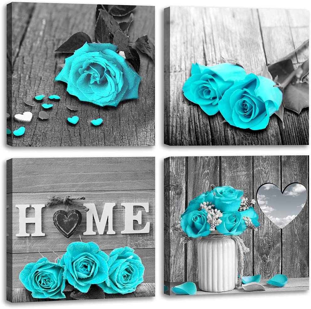 Wall Decor for Living Room Teal Blue Rose Flower Bathroom Decor Bedroom Wall Decor Black and White Canvas Art Home Love Couple Women Gifts Theme Modern Frame Pictures Turquoise Rustic Sets 14 inch