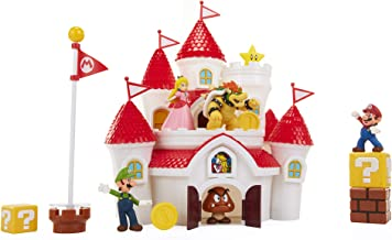 Nintendo Super Mario Deluxe Mushroom Kingdom Castle Playset with 5 2.5