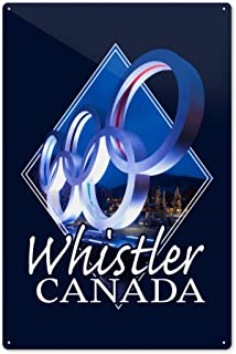 Lantern Press Whistler, Canada - Olympic Rings at Night - Contour - Photography 97510 (6x9 Aluminum Wall Sign, Wall Decor Ready to Hang)
