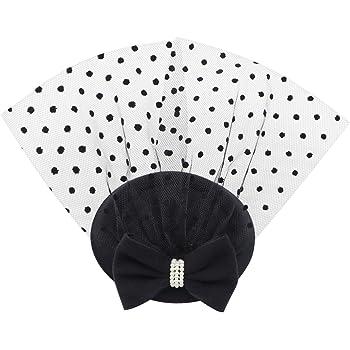 Fascinators Hat Pillbox Tea Cocktail Party Derby Wedding Church Dot Veil Bowknot Hair Clip Headbands Women's Headwear