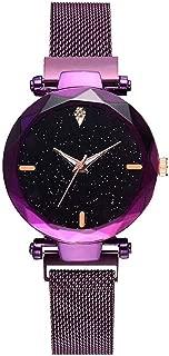 Florona Beautiful Analogue Magnet Buckle Watch for Women & Girls (Purple)