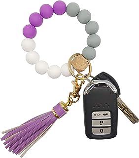 Silicone Keychain Bracelet for Women Beaded Keyring Wristlet House Car Keys Ring Holder with Gift Box