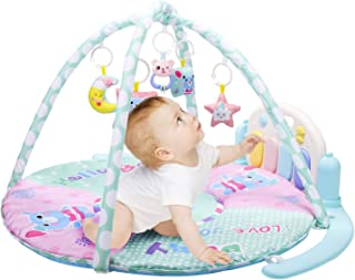 YOUNG CHOI'S Baby Play Gym Mat with Play Piano and Funny Accessories for Newborn Babies, Infant Activity Playmat Kick and Play with Music for Baby Boys and Girls