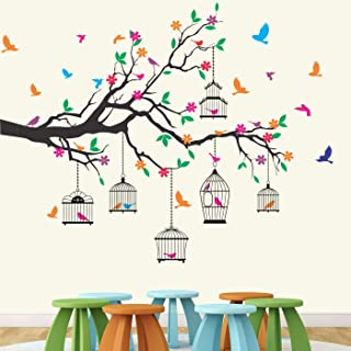 StickMe 'Nature Tree - Colorful - Birds - Cage - Wall Sticker ' -SM584 (Multi Colour, Vinyl - 130cm X 110 cm )