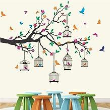 StickMe 'Nature Tree - Colorful - Birds - Cage - Wall Sticker ' -SM584 (PVC Vinyl - 130cm X 110 cm)