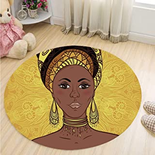 MOOCOM African Woman Comfortable Round Mat,Tribal Woman Portrait in Turban Ornate Mandala Inspired Round Motif for Indoor,59''R