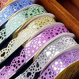 Washi Tape,Lace Pattern Glitter Bling Self-Adhesive Tape,Diamond Washi Tape Masking DIY Scrapbooking Lace Tape Sticker 6 R...