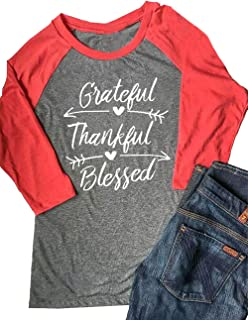 MNLYBABY Women Grateful Thankful Blessed T-Shirt Casual Splicing 3/4 Sleeve Baseball Tees