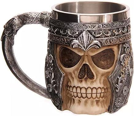 Preisvergleich für AUVSTAR Gothic 3D Skull Kaffeebecher - Edelstahl Skeleton Trinkbecher Becher