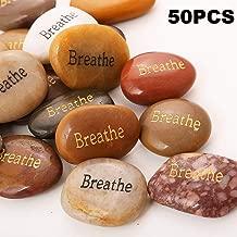 50PCS Breathe RockImpact Breathe Stone Engraved Inspirational Stones Bulk Encouragement Motivational Gifts Zen Healing Inspiring Rocks Prayer Word Stones Wholesale Breathe Rock,2