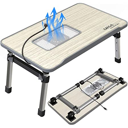 GIZGA Essentials Smart Multi-Purpose Laptop Table with Fan USB-Cooling-Pad| Study Table| Bed Table| Foldable| Adjustable Table Height| Ergonomic w/Non-Slip Legs Ideal for Work from Home| Kids