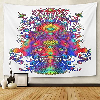 Tapestry Blue Psychadelic Psychedelic Mushroom Dance Digital Design Abstract Home Decor Wall Hanging for Living Room Bedroom Dorm 50x60 Inches