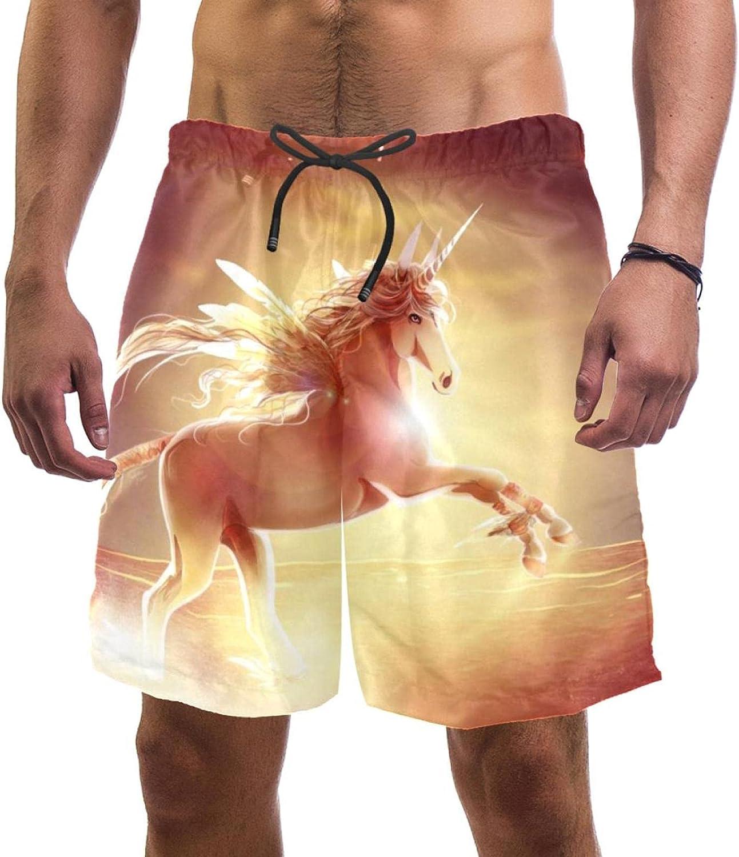 Unicorn Fancy Swim Shorts for Men Swim Trunks Men's Bathing Suits Swimwear with Mesh Lining