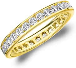 1 CT Classic Channel-Set Lab Grown Diamond Eternity Ring in 10K Gold, Sparkling in E-F Color and VS Clarity