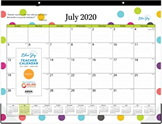 """Blue Sky 2020-2021 Academic Year Teachers Monthly Desk Pad Calendar, Trim Tape Binding, Two-Hole Punched, Ruled Blocks, 22"""" x 17"""", Dots, Model: 105496-A21"""