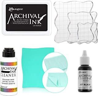 Ranger Jet Black Archival Inkpad, Jet Black 0.5-Ounce Archival Reinkers, Pixiss Acrylic Stamp Blocks 3 Pack, Archival Ink Pads Cleaner and Stamp Cleaning Shammy
