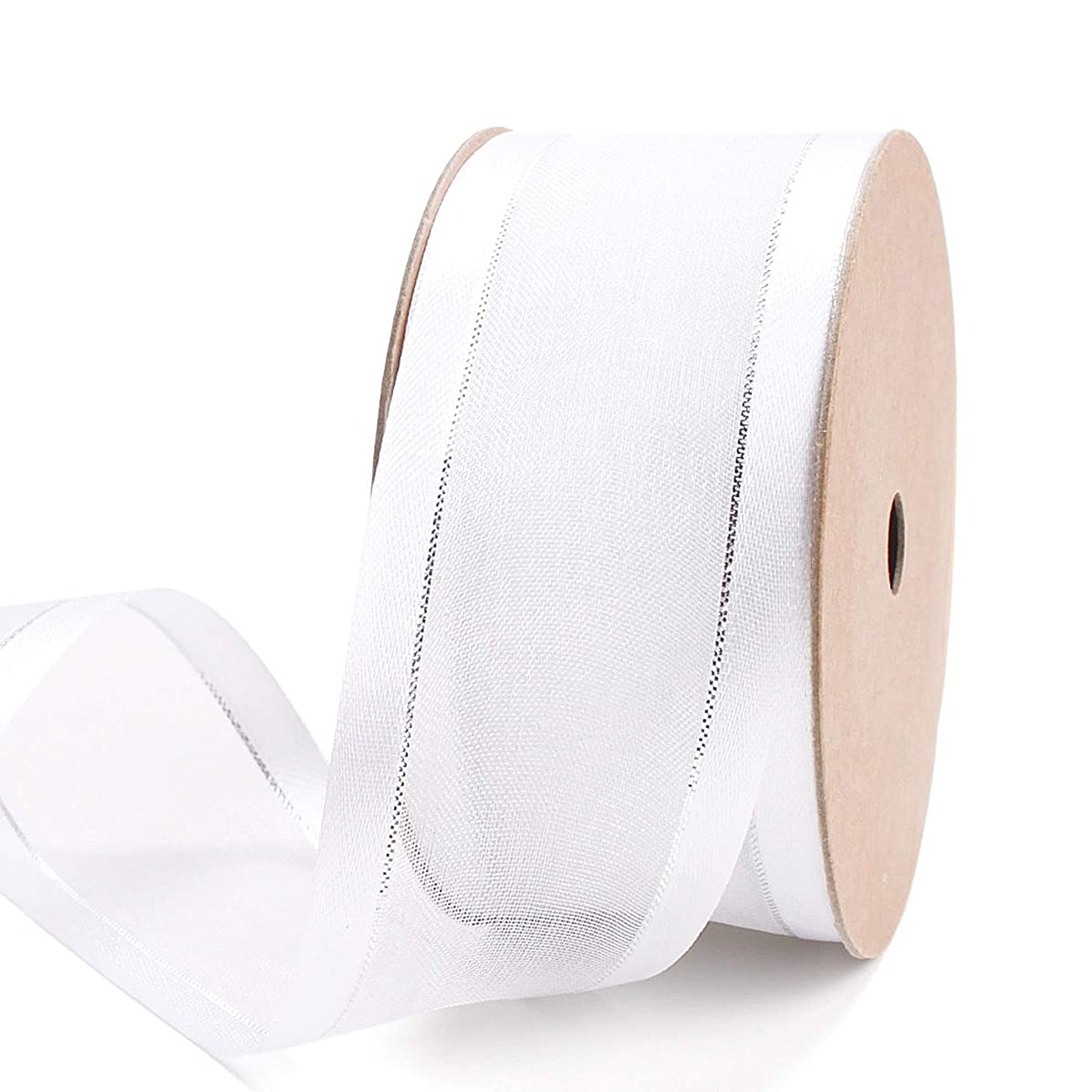 LaRibbons 1.5 inch White Sheer Organza Ribbon - Stain Edges with Silver Glitter Line for Decoration, Craft, Gift Wrappping - 10 Yard/Spool