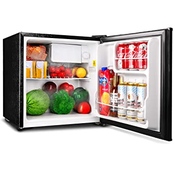 TACKLIFE Mini Refrigerator, 1.6 Cu Ft Compact Fridge with Freezer, Single Door, Super Quiet, Steel, Black, for Dorm, Office, Garage, Camper, Basement- MPBFR161