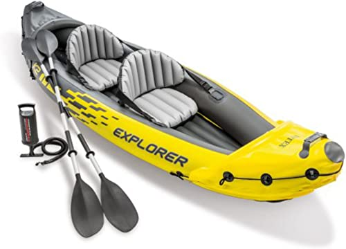 new arrival Intex Explorer K2 Kayak, 2-Person discount Inflatable Kayak Set with Aluminum Oars and High Output Air online sale Pump outlet sale