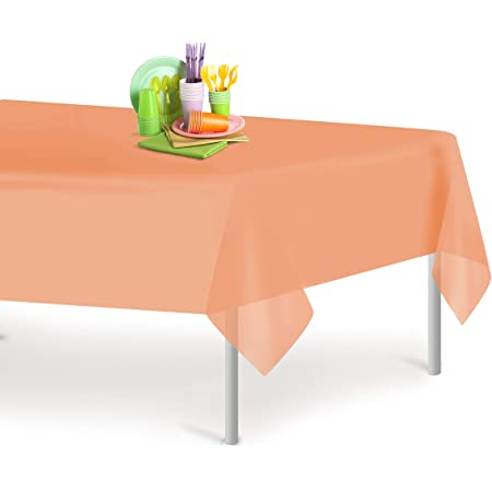 Strong Disposable Plastic 54in x 108in Table Cover Natural Looking Basket Weave Tablecloth Country Western Birthday Wedding