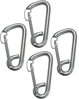 4 Pieces Stainless Steel 316 Spring Hook Carabiner 1/4 (6mm) Marine Grade Safety Clip